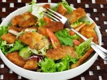 Crumbed Mushrooms on a Bed of Lettuce