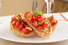 Garlic Bruschetta with Aromatic Tomatoes