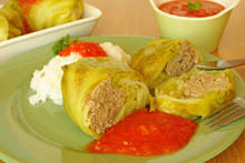 Dolmades with Cabbage and Rice
