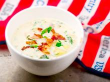 Potato Soup with Salmon and Bacon