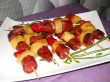 Colorful Shish Kabob with Sausage and Potatoes