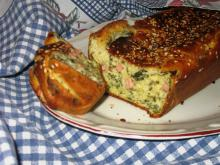 Salty Cake with Dock, Sausages and Seeds