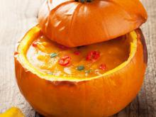 Fondue with Cheese in a Pumpkin
