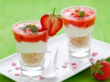 Cheesecakes with Lemon and Strawberries in Glasses
