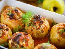 White Turnips Stuffed with Meat