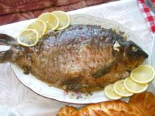 Stuffed Carp with Rice, Walnuts and Olives