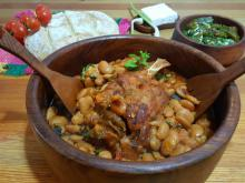 Pork Shank with Beans in a Clay Pot