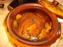 Tasty Pork Shank with Potatoes in a Clay Pot