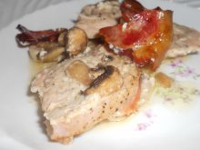 Pork Loins with Mushrooms, Mayo and Bacon in the Oven