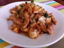 Quick Pork Dish with Onions in a Pan