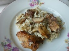 Pork with Mushrooms and Rice in the Oven