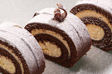 Chocolate Roll with Cream and Almonds