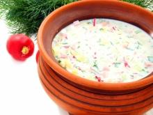 Cold Soup with Chicken and Mozzarella