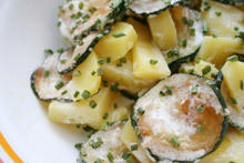 Zucchini and Potatoes with Cream Sauce