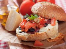 Burger with Tomatoes and Olives