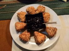 Breaded Processed Cheese Bites with Walnuts and Sesame