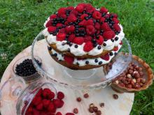 Lovely Hazelnut Cake with Raspberries and Blueberries