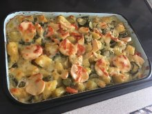 Casserole with Potatoes and Processed Cheese