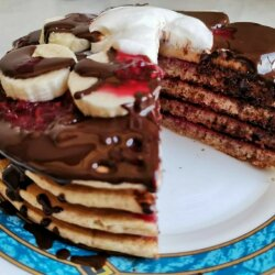 American Pancakes with Chocolate and Raspberry Jam