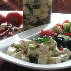 Antipasto with Marinated Cheese and Olives