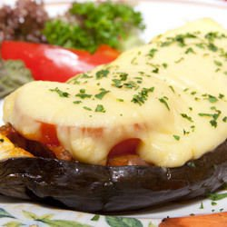 Eggplants with Eggs and Cheese in the Oven