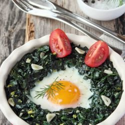 Spinach with Eggs and Cream Cheese