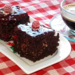 Brownies with Coconut and Raspberries, without Eggs and Milk