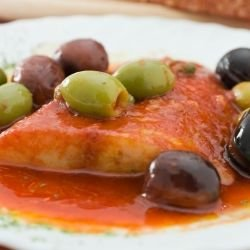 Fish with Tomatoes and Kalamata Olives