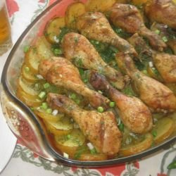 Chicken Legs with Fresh Potatoes, Dill and Garlic