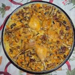 Chicken Legs with Rice and Mushrooms in the Oven