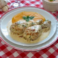 Chicken Legs with Cheeses and Dried Tomatoes