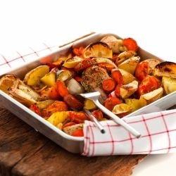 Chicken with Vegetables and Wine in the Oven