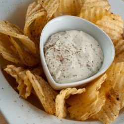 Potato Chips with Cottage Cheese and Mascarpone Dip