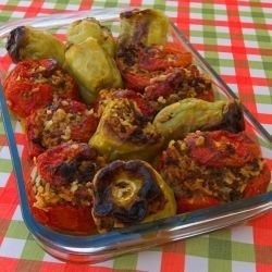 Peppers Stuffed with Mushrooms and Bulgur