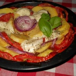 Vegetarian Dish with Tomatoes, Potatoes and Mozzarella