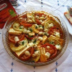 Baked Tomatoes and Zucchini with Cheeses