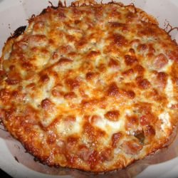 Pizza with Vienna Sausages and Mushrooms