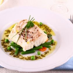 Fish with Peas and Green Beans