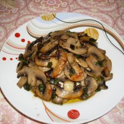 Mushrooms with Butter in a Grill Pan