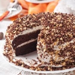 Homemade Cake with Nuts and Cream