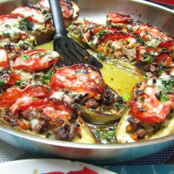 Stuffed Eggplants with Mince, Papoutsakia