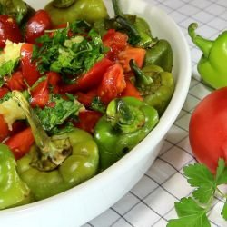 Pepper, Tomato and Garlic Salad
