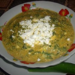 Porridge with Spinach, Feta Cheese and Eggs