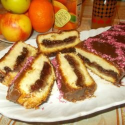 Cake with Jam and Chocolate Glaze