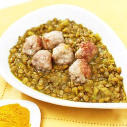 Curry Meatballs with Lentils