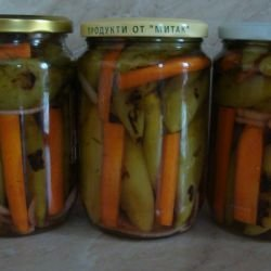 Chili Peppers and Carrots in a Jar