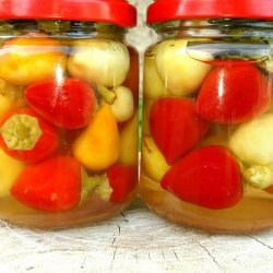Raw Hot Peppers in a Jar