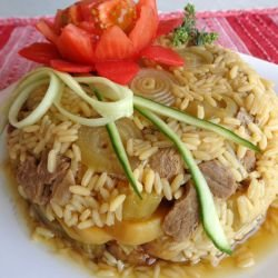 Maqluba - Veal with Rice, Eggplants and Potatoes
