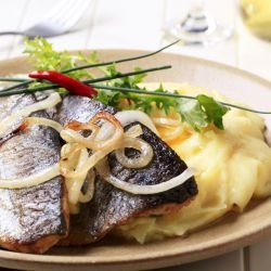 Trout with Spicy Puree and Onion Sauce