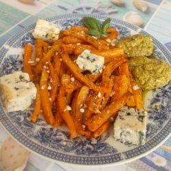 Oven-Baked Carrots with Burrata and Pesto